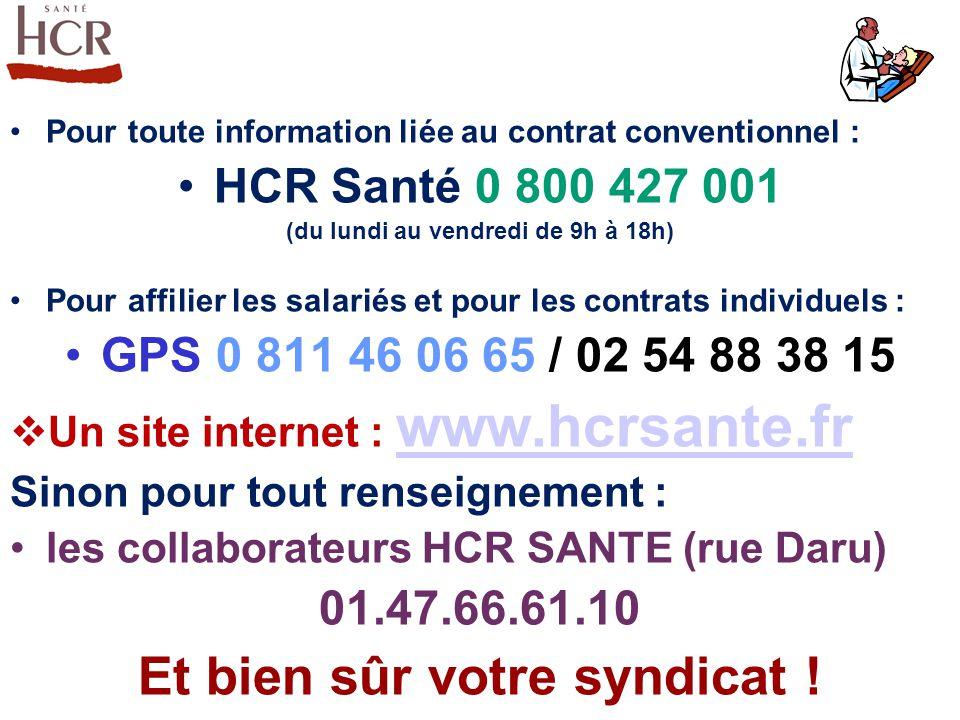 Pour toute information liée au contrat conventionnel : HCR Santé 0 800 427 001 (du lundi au vendredi de 9h à 18h) Pour affilier les salariés et pour l