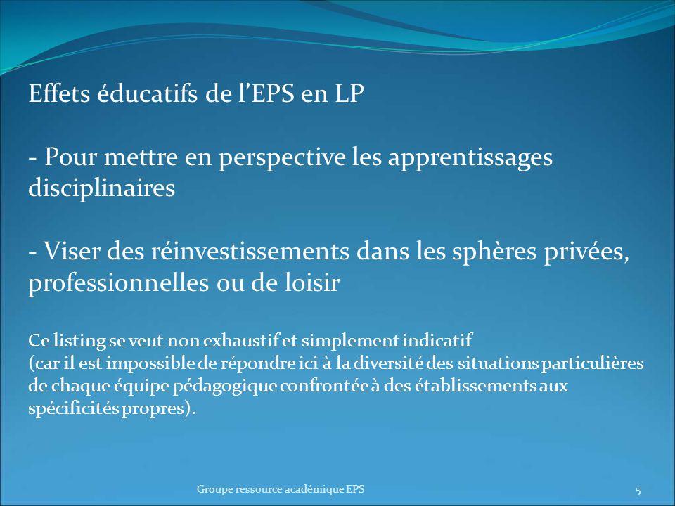 Le but est de permettre : Un affichage des effets de lEPS au-delà de son simple champ disciplinaire (savoir communiquer et légitimer notre action).