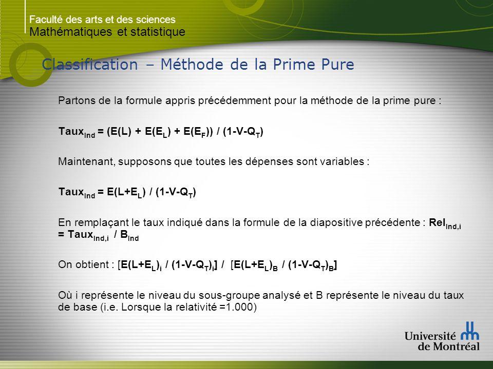Faculté des arts et des sciences Mathématiques et statistique Classification – Méthode de la Prime Pure Partons de la formule appris précédemment pour la méthode de la prime pure : Taux Ind = (E(L) + E(E L ) + E(E F )) / (1-V-Q T ) Maintenant, supposons que toutes les dépenses sont variables : Taux Ind = E(L+E L ) / (1-V-Q T ) En remplaçant le taux indiqué dans la formule de la diapositive précédente : Rel Ind,i = Taux Ind,i / B Ind On obtient : [E(L+E L ) i / (1-V-Q T ) i ] / [E(L+E L ) B / (1-V-Q T ) B ] Où i représente le niveau du sous-groupe analysé et B représente le niveau du taux de base (i.e.