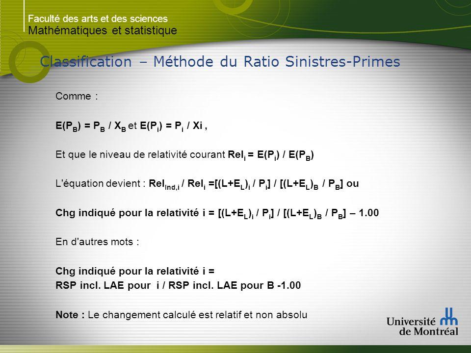 Faculté des arts et des sciences Mathématiques et statistique Classification – Méthode du Ratio Sinistres-Primes Comme : E(P B ) = P B / X B et E(P i ) = P i / Xi, Et que le niveau de relativité courant Rel i = E(P i ) / E(P B ) L équation devient : Rel Ind,i / Rel i =[(L+E L ) i / P i ] / [(L+E L ) B / P B ] ou Chg indiqué pour la relativité i = [(L+E L ) i / P i ] / [(L+E L ) B / P B ] – 1.00 En d autres mots : Chg indiqué pour la relativité i = RSP incl.