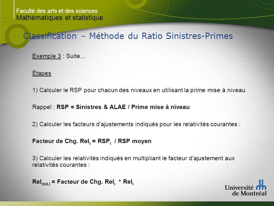 Faculté des arts et des sciences Mathématiques et statistique Classification – Méthode du Ratio Sinistres-Primes Exemple 3 : Suite... Étapes 1) Calcul