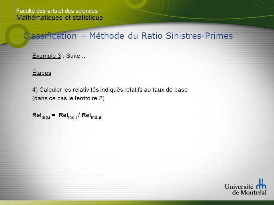 Faculté des arts et des sciences Mathématiques et statistique Classification – Méthode du Ratio Sinistres-Primes Exemple 3 : Suite... Étapes 4) Calcul