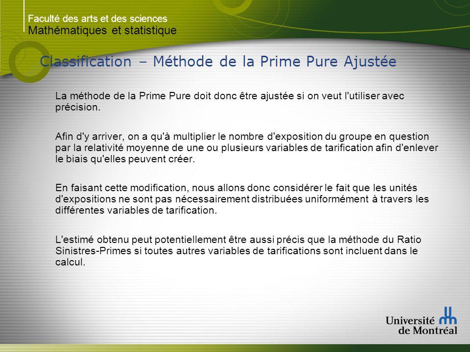Faculté des arts et des sciences Mathématiques et statistique Classification – Méthode de la Prime Pure Ajustée La méthode de la Prime Pure doit donc être ajustée si on veut l utiliser avec précision.