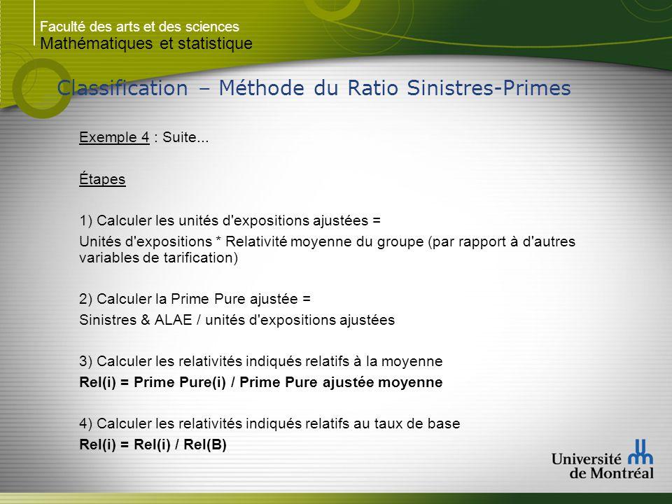 Faculté des arts et des sciences Mathématiques et statistique Classification – Méthode du Ratio Sinistres-Primes Exemple 4 : Suite... Étapes 1) Calcul