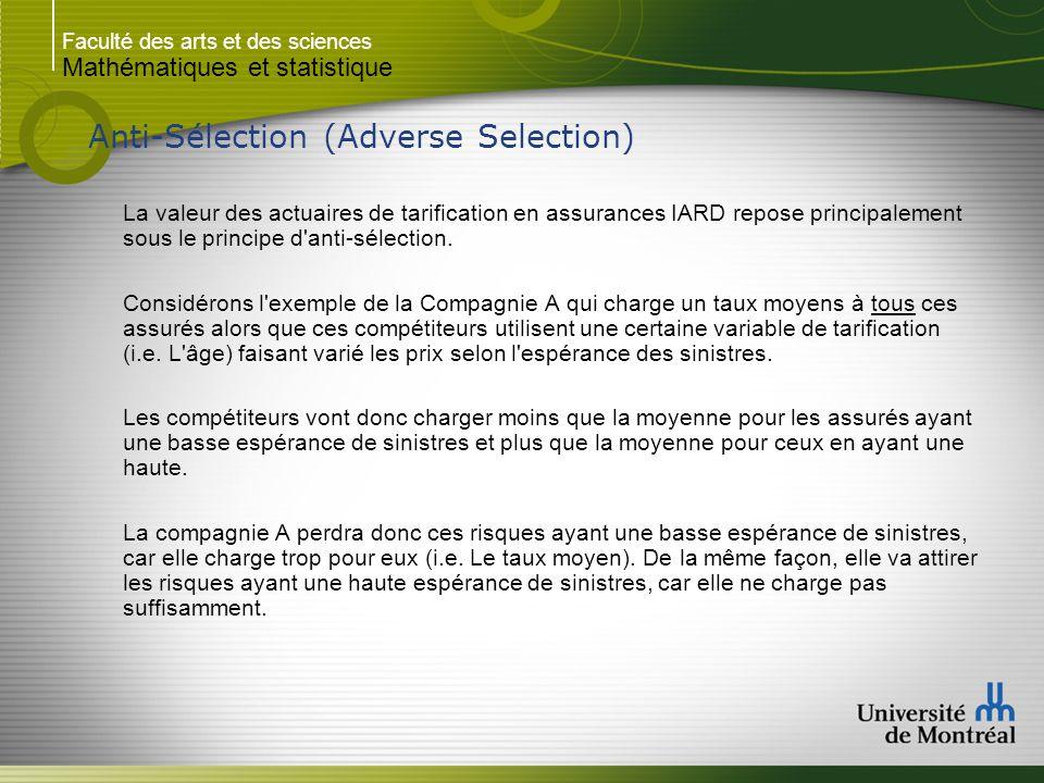 Faculté des arts et des sciences Mathématiques et statistique Anti-Sélection (Adverse Selection) La valeur des actuaires de tarification en assurances IARD repose principalement sous le principe d anti-sélection.