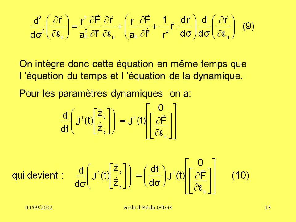 04/09/2002école d'été du GRGS15 On intègre donc cette équation en même temps que l équation du temps et l équation de la dynamique. Pour les paramètre