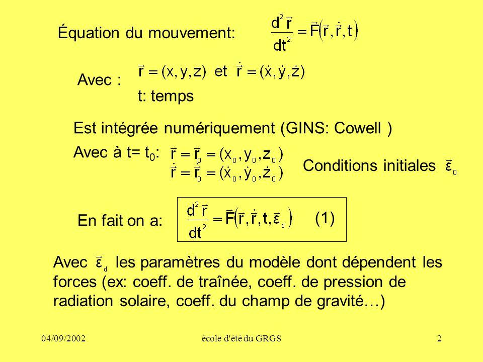 04/09/2002école d été du GRGS2 Équation du mouvement: En fait on a: t: temps Est intégrée numériquement (GINS: Cowell ) Avec à t= t 0 : Conditions initiales Avec : Avec les paramètres du modèle dont dépendent les forces (ex: coeff.