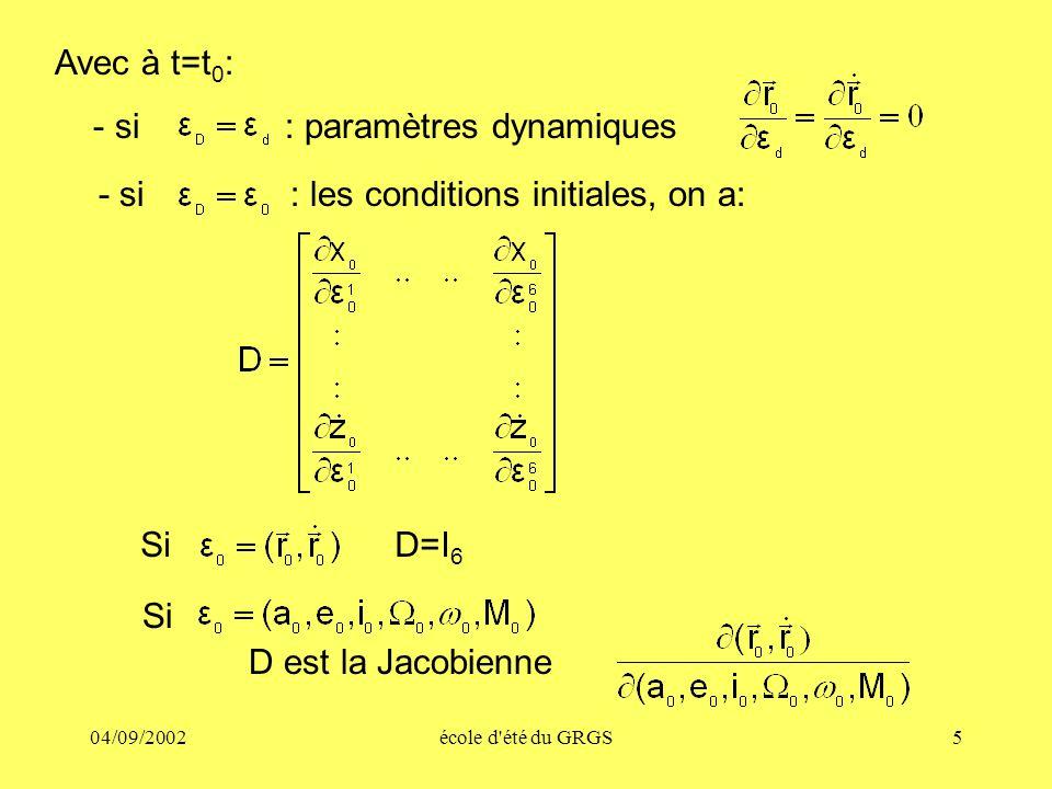 04/09/2002école d'été du GRGS5 Avec à t=t 0 : - si : paramètres dynamiques - si : les conditions initiales, on a: Si D=I 6 Si D est la Jacobienne