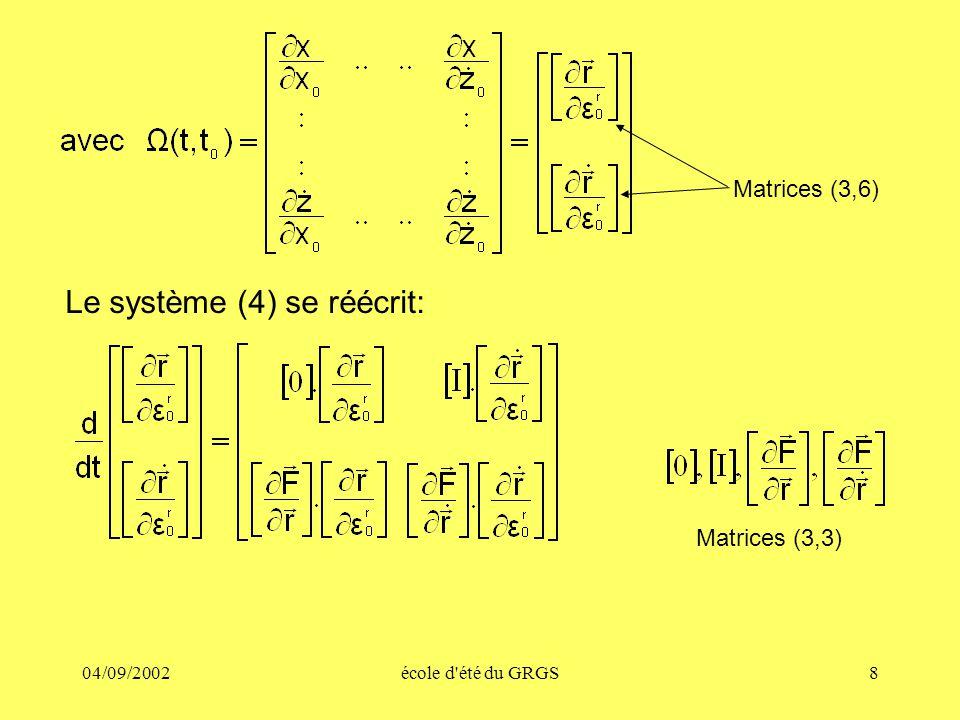 04/09/2002école d'été du GRGS8 Le système (4) se réécrit: Matrices (3,6) Matrices (3,3)