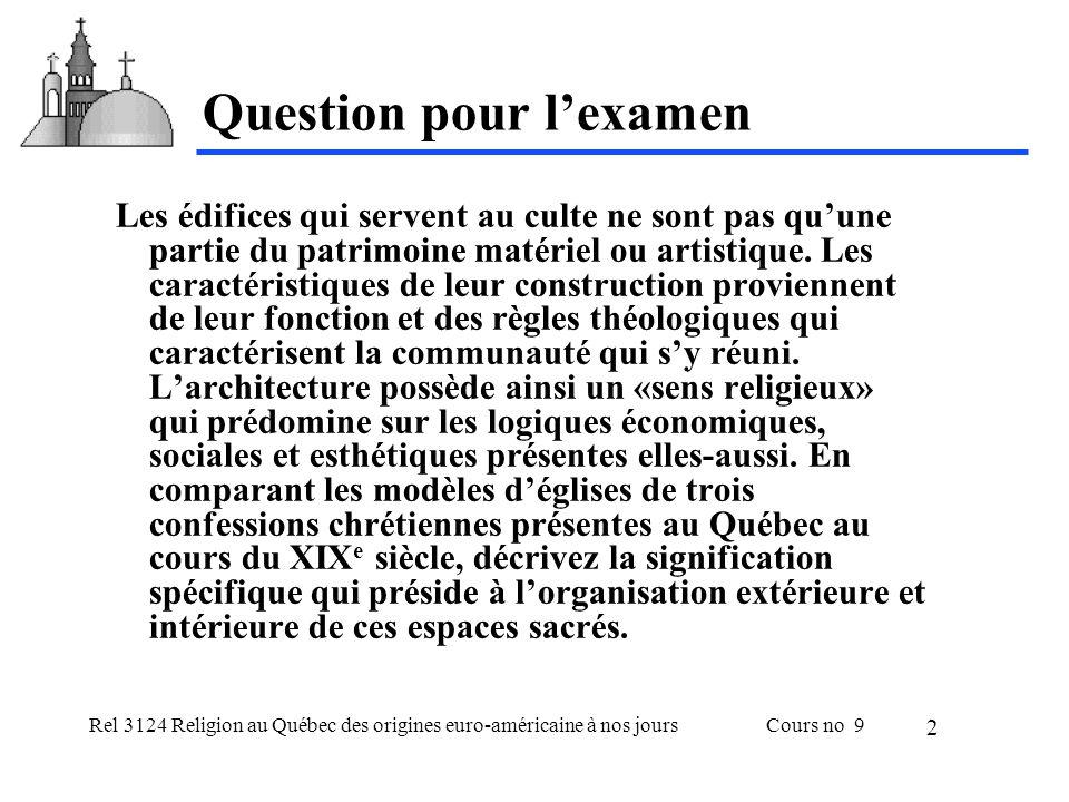 Rel 3124 Religion au Québec des origines euro-américaine à nos joursCours no 9 13 Église anglicane ecclésiologiste A.