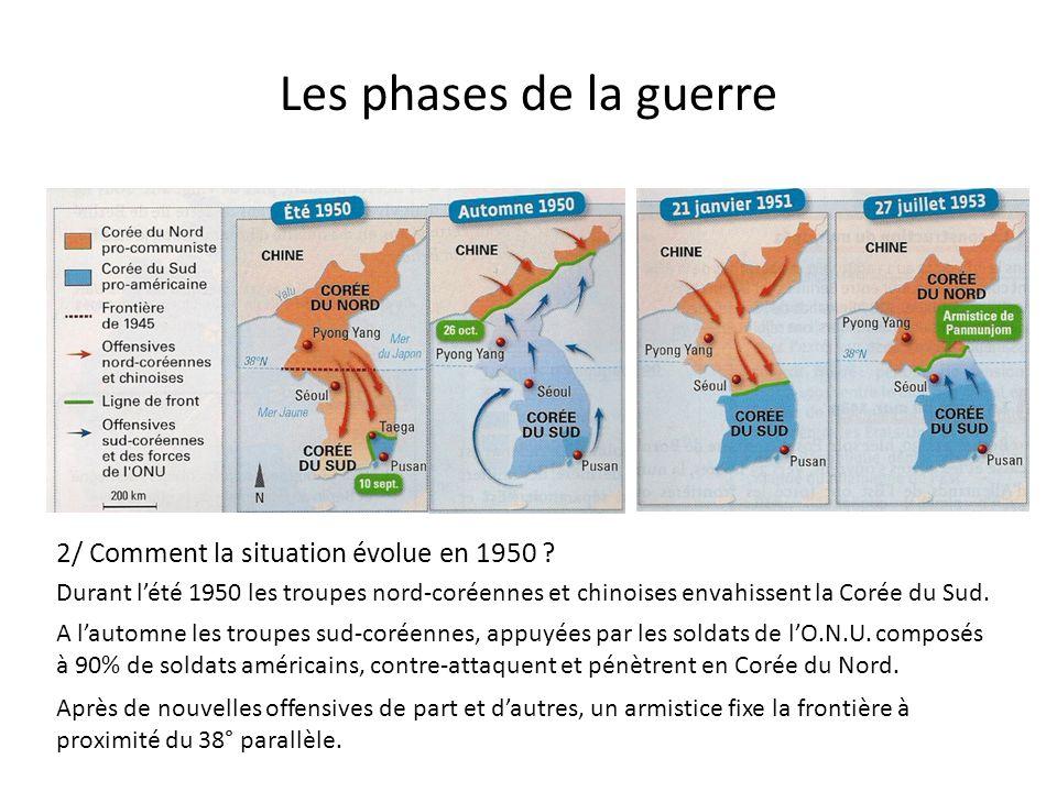 Les phases de la guerre 2/ Comment la situation évolue en 1950 ? Durant lété 1950 les troupes nord-coréennes et chinoises envahissent la Corée du Sud.