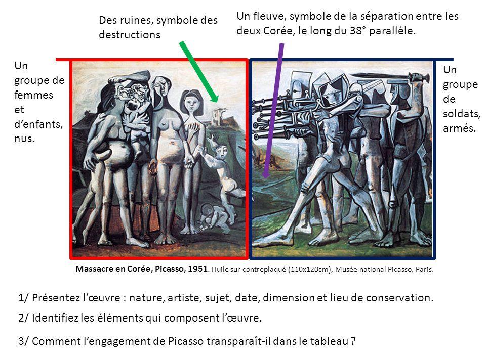 Massacre en Corée, Picasso, 1951. Huile sur contreplaqué (110x120cm), Musée national Picasso, Paris. Un groupe de femmes et denfants, nus. Un groupe d