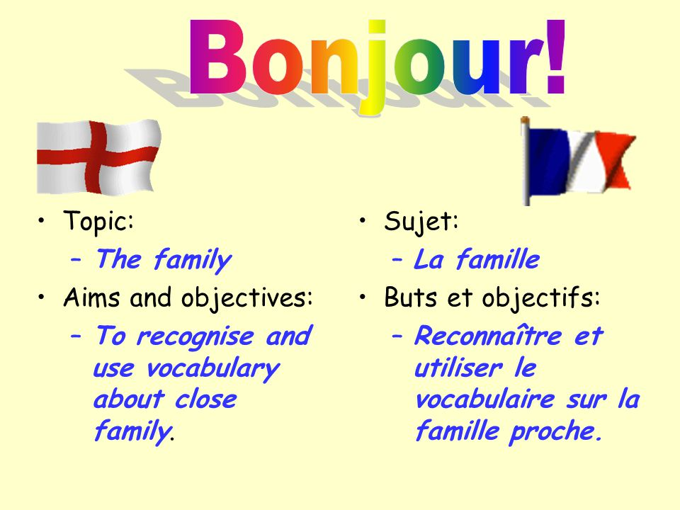 Topic: –The family Aims and objectives: –To recognise and use vocabulary about close family. Sujet: –La famille Buts et objectifs: –Reconnaître et uti