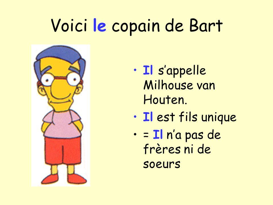 Voici le copain de Bart Il sappelle Milhouse van Houten. Il est fils unique = Il na pas de frères ni de soeurs
