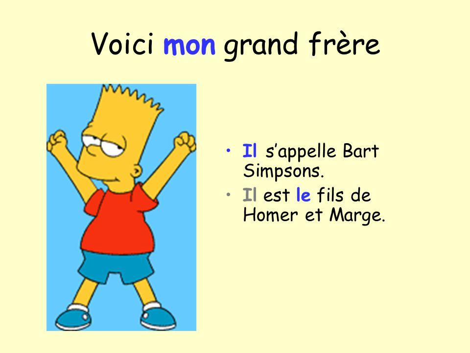 Voici mon grand frère Il sappelle Bart Simpsons. Il est le fils de Homer et Marge.