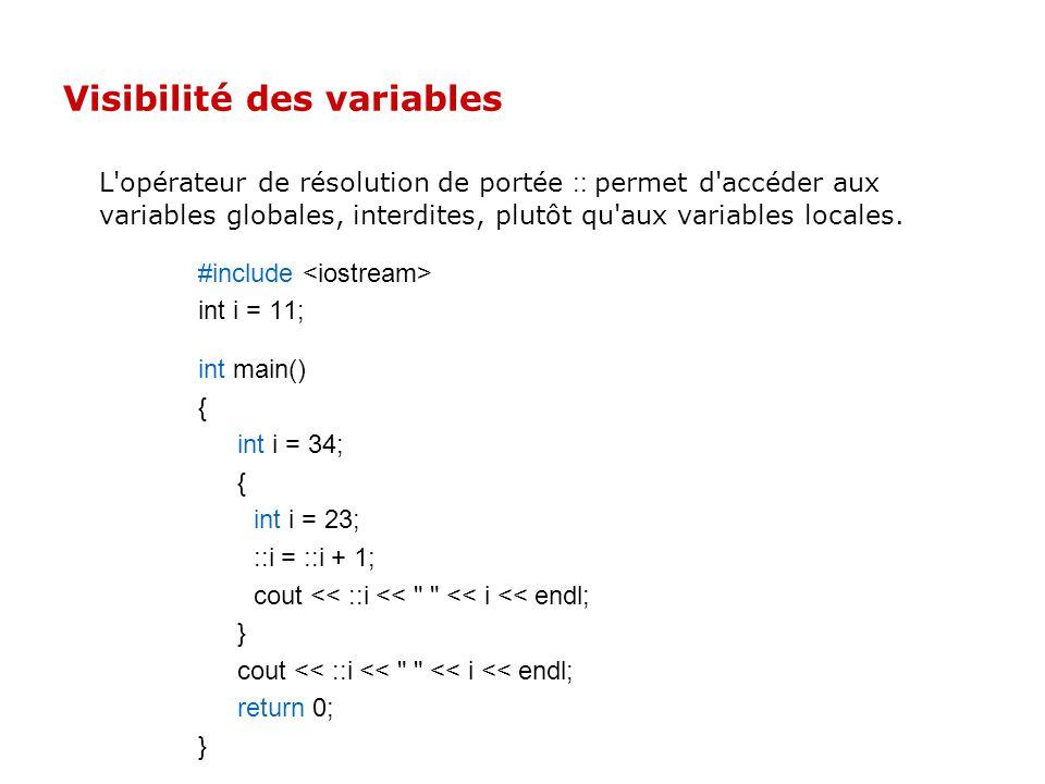Définition des variables En C++ on peut déclarer les variables ou fonctions n'importe où dans le code. La portée de telles variables va de l'endroit d
