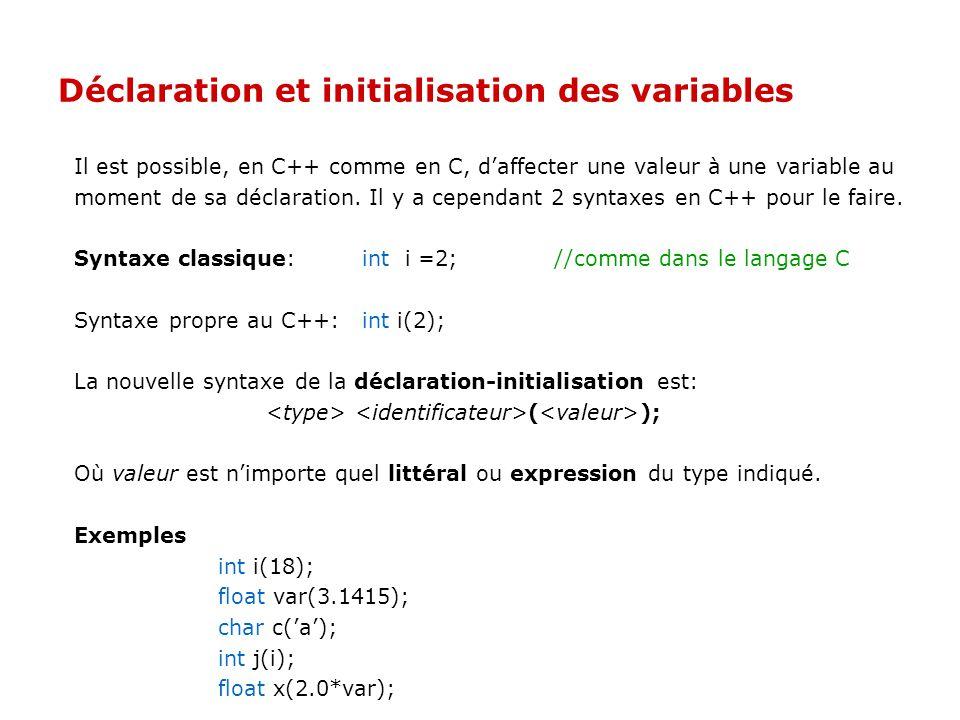 Visibilité des variables L'opérateur de résolution de portée :: permet d'accéder aux variables globales, interdites, plutôt qu'aux variables locales.