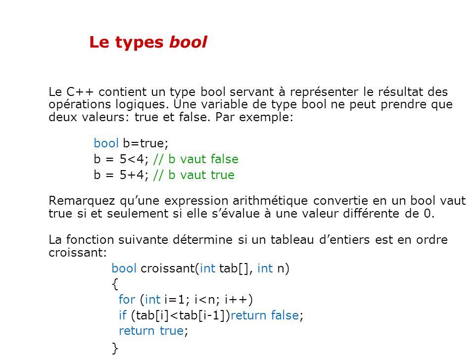 Déclaration et initialisation des variables Il est possible, en C++ comme en C, daffecter une valeur à une variable au moment de sa déclaration. Il y