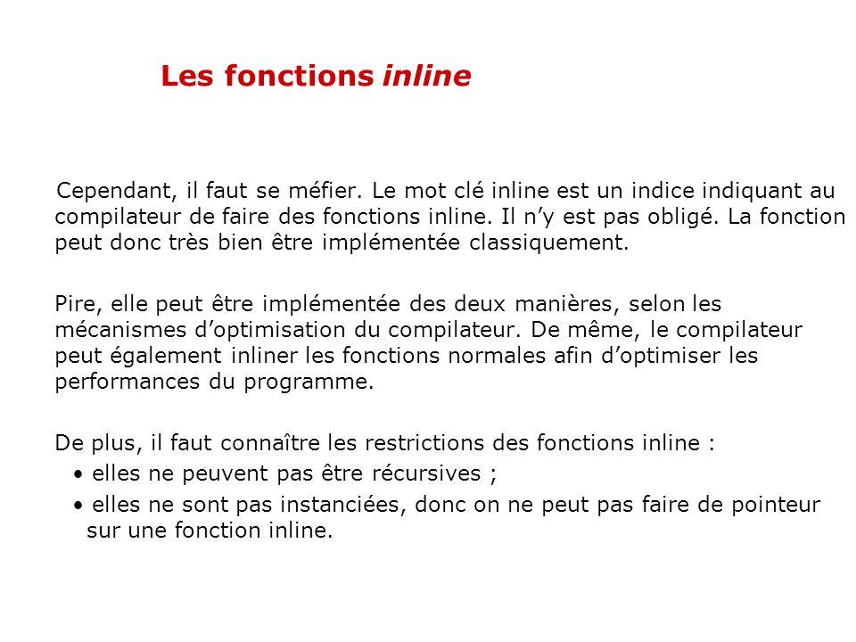 Les fonctions inline Le C++ dispose du mot clé inline, qui permet de modifier la méthode dimplémentation des fonctions. Placé devant la déclaration du