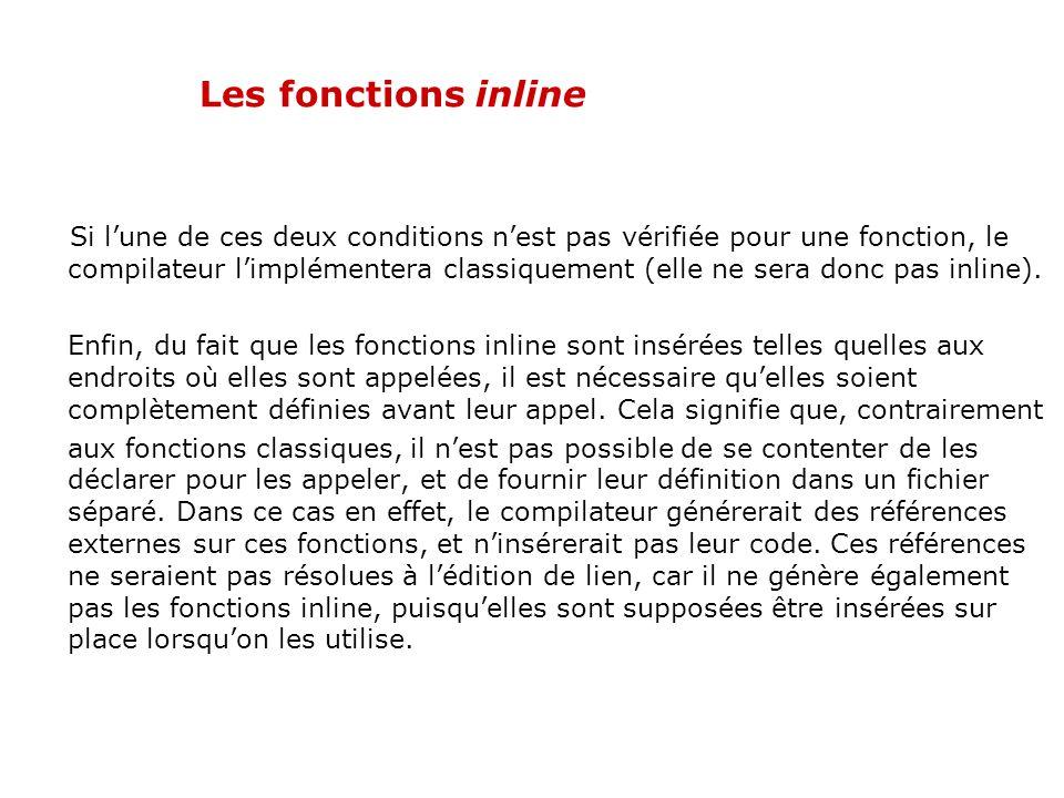Les fonctions inline Cependant, il faut se méfier. Le mot clé inline est un indice indiquant au compilateur de faire des fonctions inline. Il ny est p