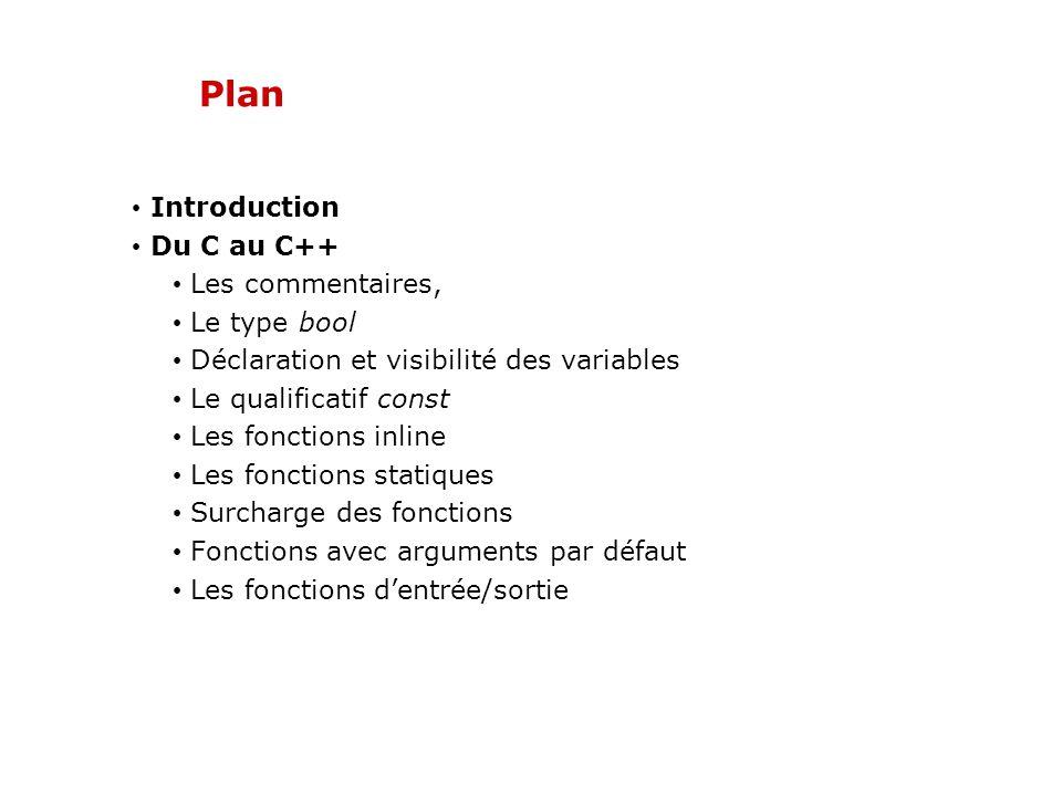 Plan Introduction Du C au C++ Les commentaires, Le type bool Déclaration et visibilité des variables Le qualificatif const Les fonctions inline Les fonctions statiques Surcharge des fonctions Fonctions avec arguments par défaut Les fonctions dentrée/sortie