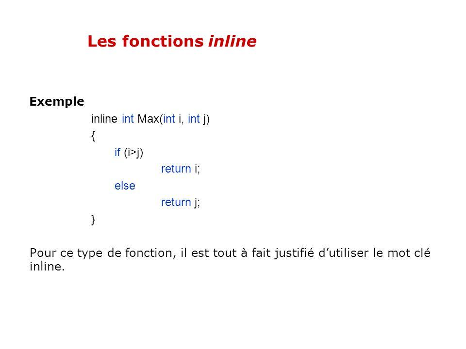 Les fonctions inline Si lune de ces deux conditions nest pas vérifiée pour une fonction, le compilateur limplémentera classiquement (elle ne sera donc