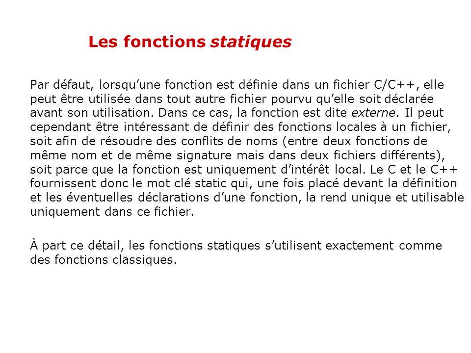 Les fonctions inline Exemple inline int Max(int i, int j) { if (i>j) return i; else return j; } Pour ce type de fonction, il est tout à fait justifié