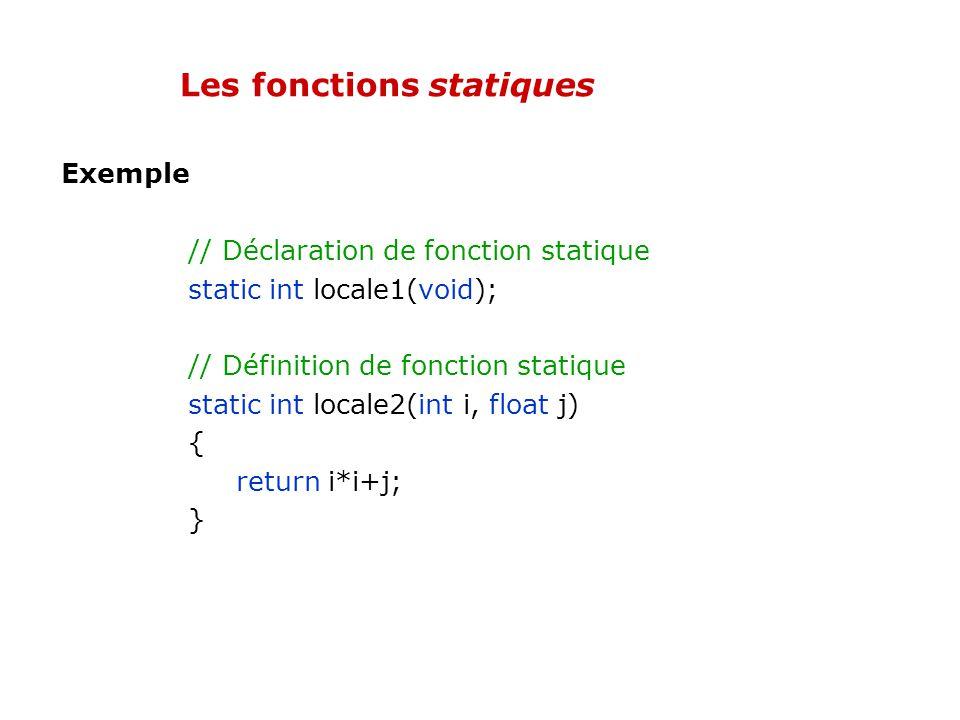 Les fonctions statiques Par défaut, lorsquune fonction est définie dans un fichier C/C++, elle peut être utilisée dans tout autre fichier pourvu quell