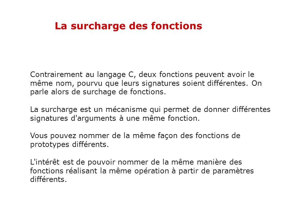 Les fonctions statiques Exemple // Déclaration de fonction statique static int locale1(void); // Définition de fonction statique static int locale2(in