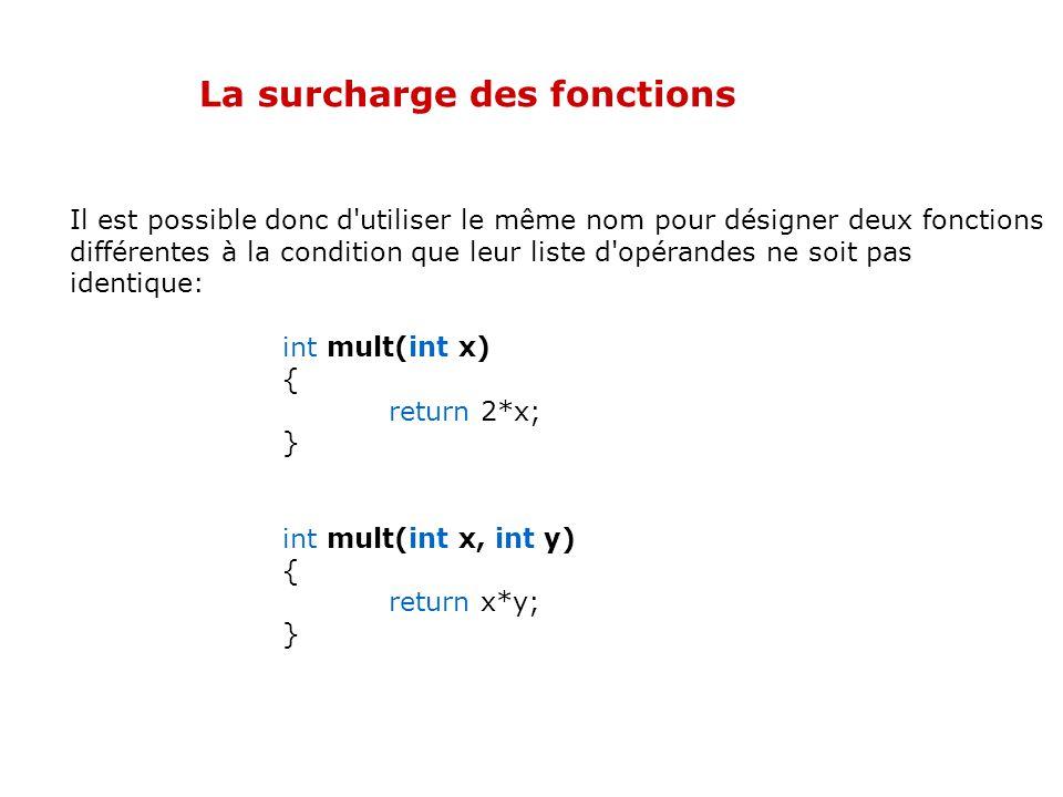 La surcharge des fonctions Contrairement au langage C, deux fonctions peuvent avoir le même nom, pourvu que leurs signatures soient différentes. On pa