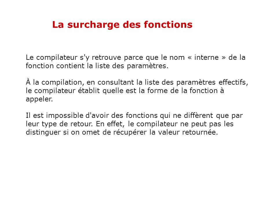 La surcharge des fonctions Autre exemple int somme(int arg1, int arg2, int arg3) // fonction 1 { return arg1+arg2+arg3; } int somme(int arg1, int arg2