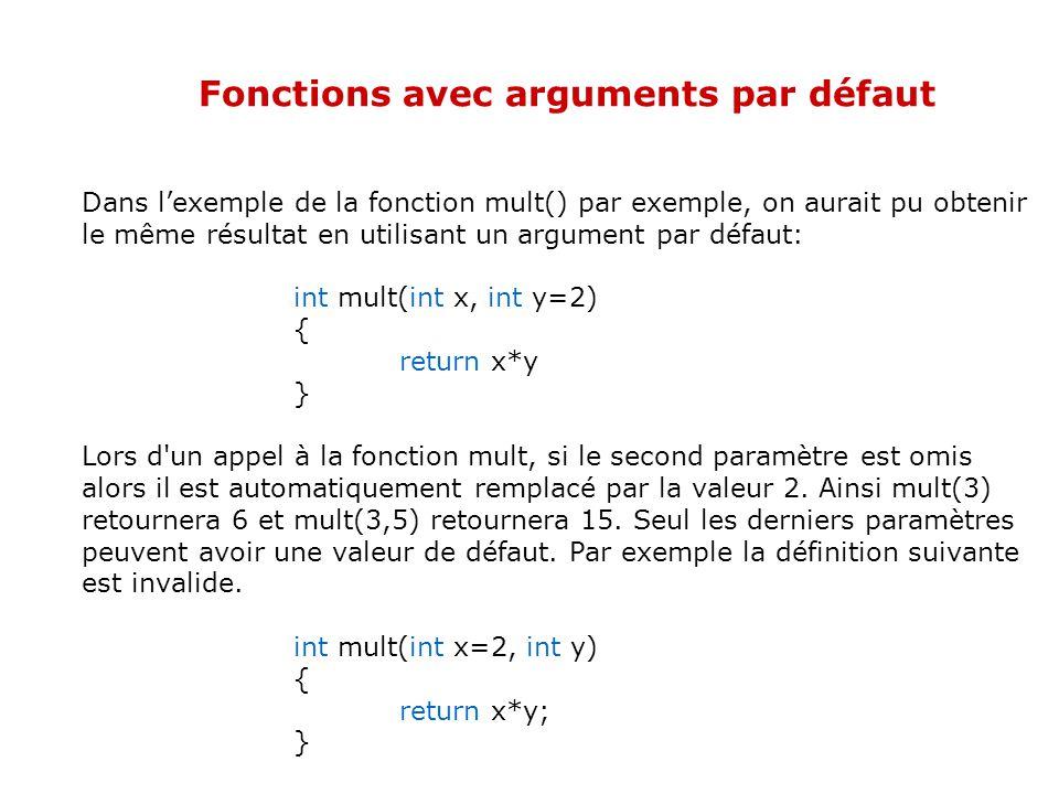 Fonctions avec arguments par défaut Le langage C++ permet de spécifier une valeur par défaut aux arguments de fonctions. De cette manière, quand vous