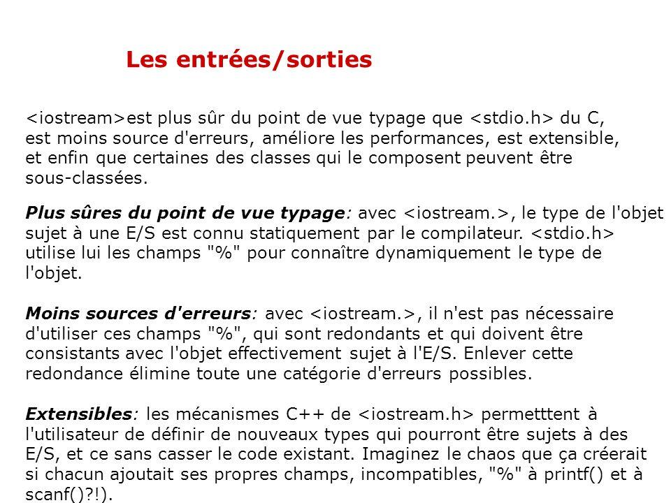 Les entrées/sorties La famille des iostream Une stream en C++ : séquence de caractères permettant de faire les opérations d'entrées/sorties. Une ostre