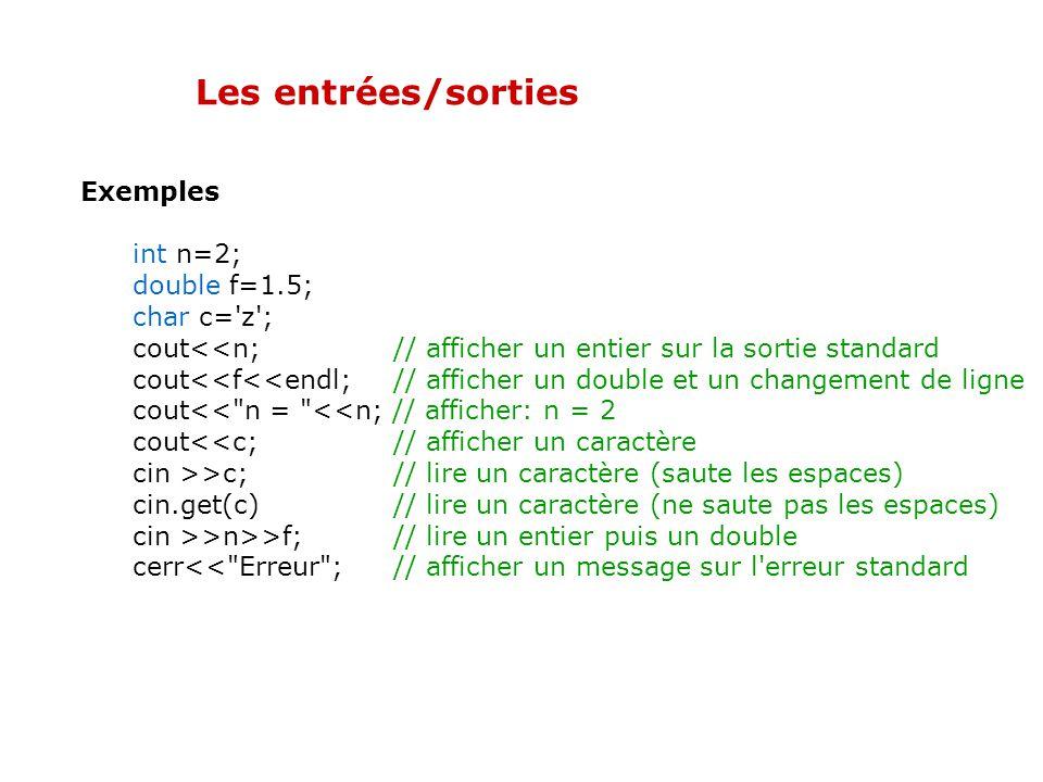 Les entrées/sorties Par exemple, l'écriture à l'écran de la valeur dune expression se traduit par le code suivant : cout << expression; Cela sous ente