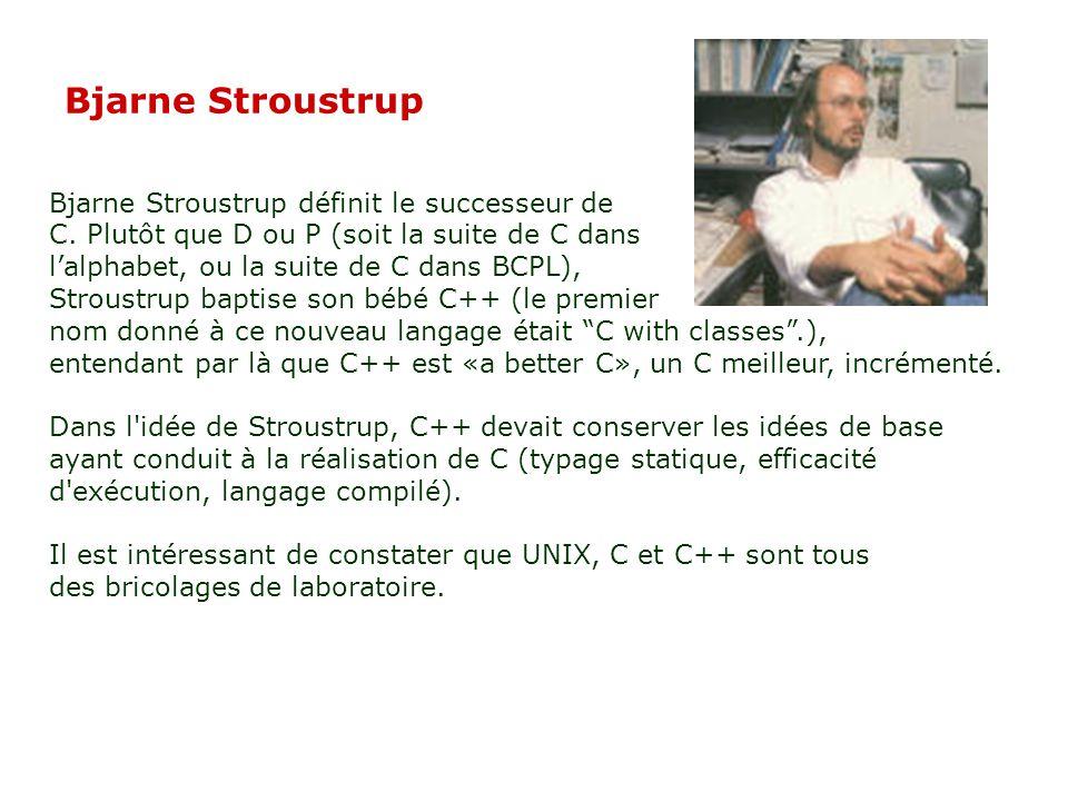 Bjarne Stroustrup Bjarne Stroustrup définit le successeur de C.