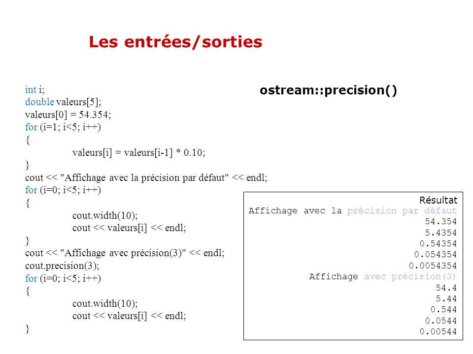 Les entrées/sorties ostream::precision() Permet de contrôler le nombre de chiffres significatifs visibles à l'affichage. Par défaut : 6 chiffres signi