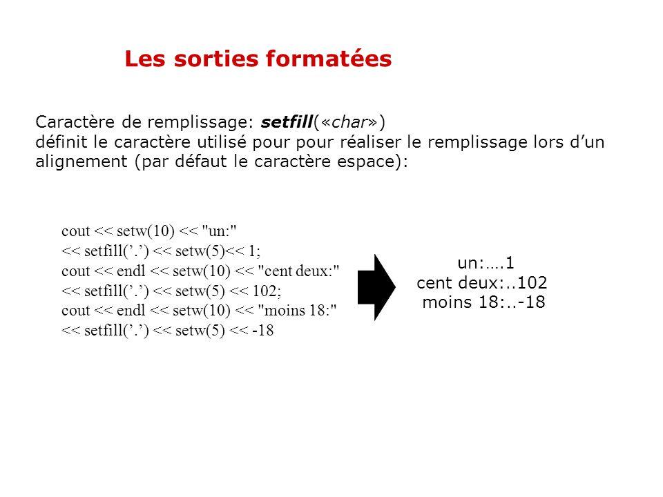 Les sorties formatées Longueur de la représentation: setw(«taille») la donnée qui suit ce manipulateur est affiché sur (au moins) taille caractères, a