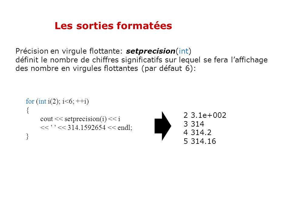 Les sorties formatées Caractère de remplissage: setfill(«char») définit le caractère utilisé pour pour réaliser le remplissage lors dun alignement (pa
