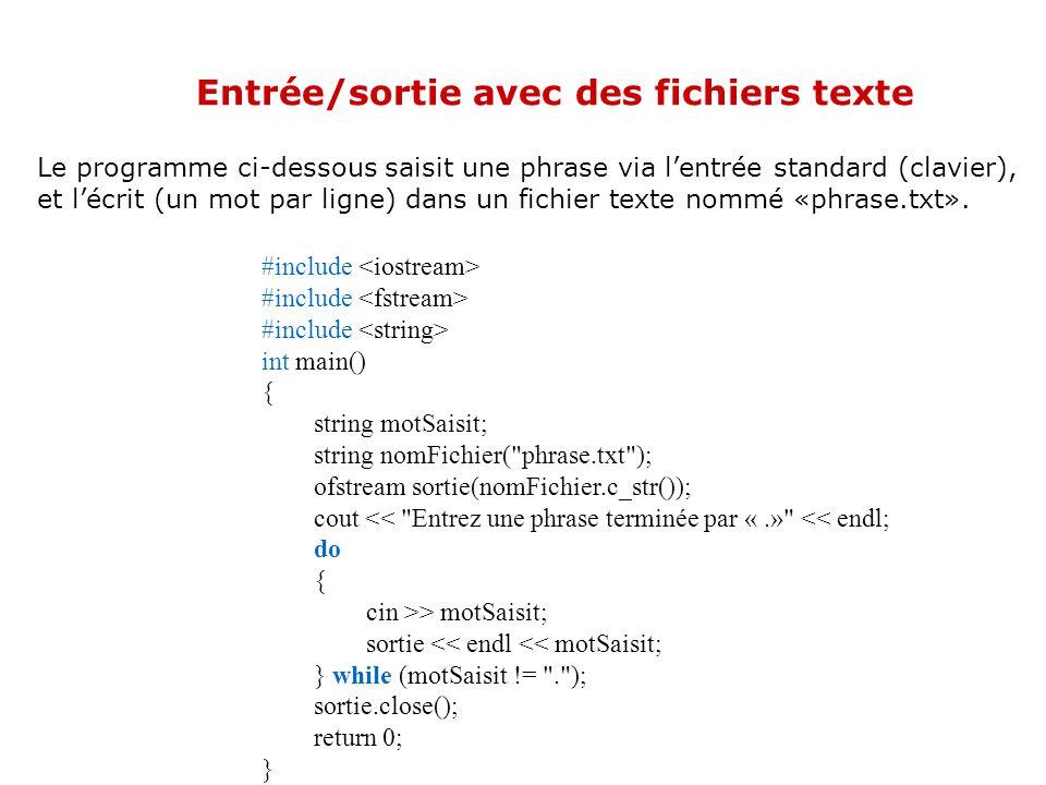 Entrée/sortie avec des fichiers texte Lutilisation dans le programme des variables de type fstream pour effectuer des entrées-sorties se fait de la mê