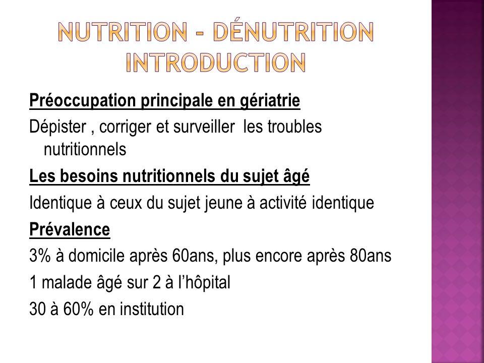 Nutrition et Escarres Objectifs nutritionnels identiques à ceux de la personne âgée dénutrie A débuter par voie orale En cas déchec, nutrition entérale, en tenant compte des caractéristiques somatiques du malade et de considérations éthiques Hyperprotidique pour lutter contre lhypercatabolisme Le cas échéant, nutrition parentérale