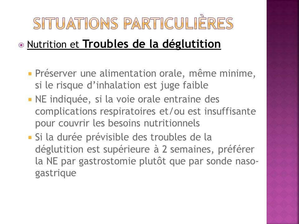 Nutrition et Troubles de la déglutition Préserver une alimentation orale, même minime, si le risque dinhalation est juge faible NE indiquée, si la voie orale entraine des complications respiratoires et/ou est insuffisante pour couvrir les besoins nutritionnels Si la durée prévisible des troubles de la déglutition est supérieure à 2 semaines, préférer la NE par gastrostomie plutôt que par sonde naso- gastrique