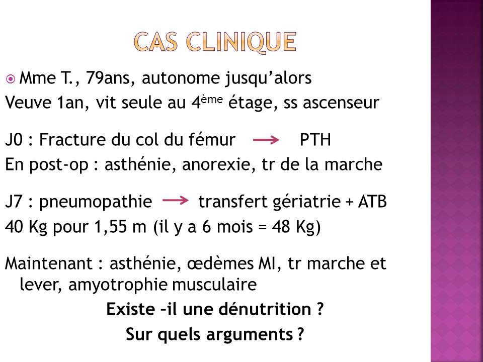 Mme T., 79ans, autonome jusqualors Veuve 1an, vit seule au 4 ème étage, ss ascenseur J0 : Fracture du col du fémur PTH En post-op : asthénie, anorexie, tr de la marche J7 : pneumopathietransfert gériatrie + ATB 40 Kg pour 1,55 m (il y a 6 mois = 48 Kg) Maintenant : asthénie, œdèmes MI, tr marche et lever, amyotrophie musculaire Existe –il une dénutrition .