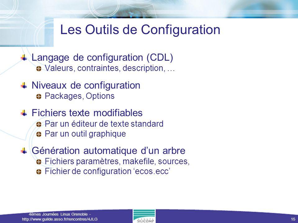 4èmes Journées Linux Grenoble - http://www.guilde.asso.fr/rencontres/4JLG 15 Les Outils de Configuration Langage de configuration (CDL) Valeurs, contr