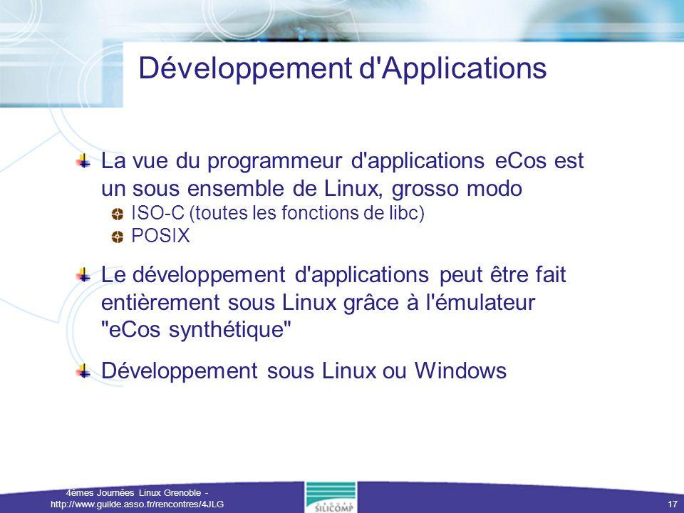 4èmes Journées Linux Grenoble - http://www.guilde.asso.fr/rencontres/4JLG 17 Développement d'Applications La vue du programmeur d'applications eCos es