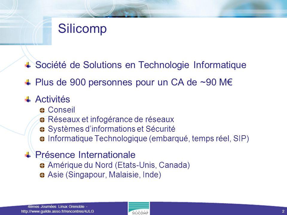 4èmes Journées Linux Grenoble - http://www.guilde.asso.fr/rencontres/4JLG 3 Evolution des systèmes embarqués Informatique omni-présente ( pervasive computing ) 7 milliards de micro-processeurs en fonction Une grande part du marché encore en 8-bits Des équipementiers qui fabriquent des appareils communicants Des opérateurs qui offrent un service