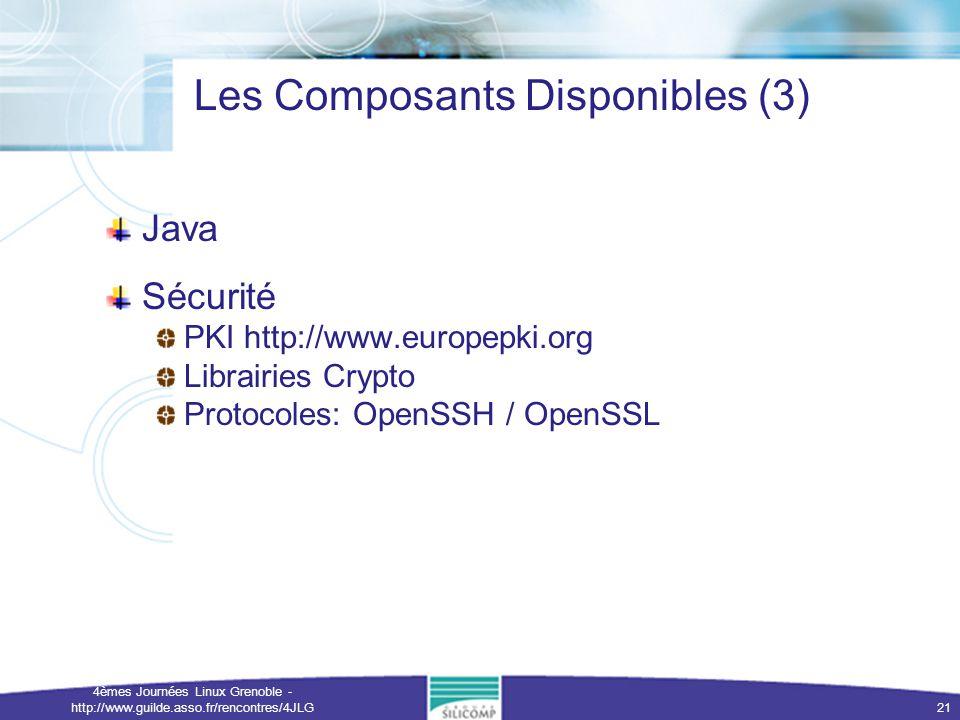 4èmes Journées Linux Grenoble - http://www.guilde.asso.fr/rencontres/4JLG 21 Les Composants Disponibles (3) Java Sécurité PKI http://www.europepki.org