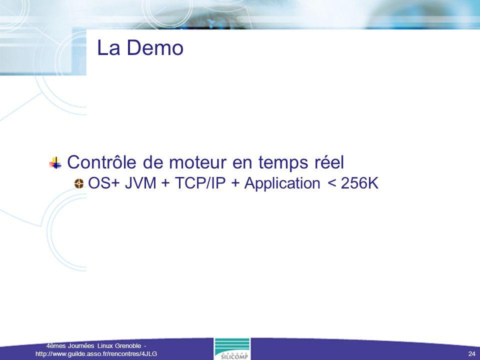 4èmes Journées Linux Grenoble - http://www.guilde.asso.fr/rencontres/4JLG 24 La Demo Contrôle de moteur en temps réel OS+ JVM + TCP/IP + Application <