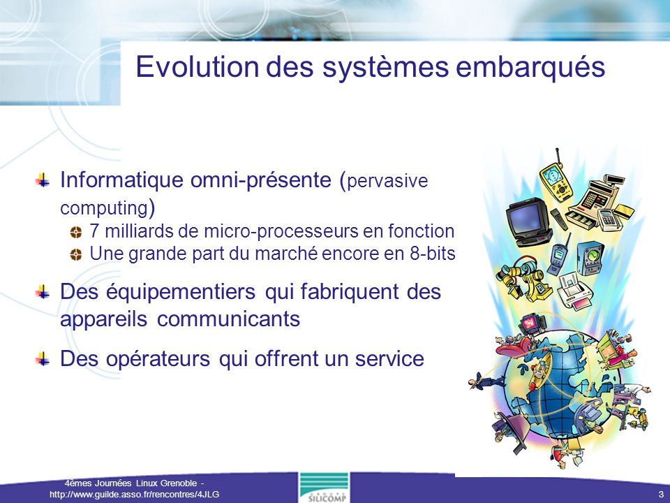 4èmes Journées Linux Grenoble - http://www.guilde.asso.fr/rencontres/4JLG 3 Evolution des systèmes embarqués Informatique omni-présente ( pervasive co
