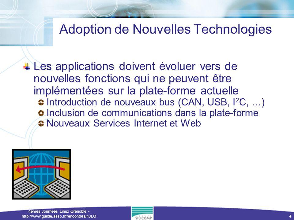 4èmes Journées Linux Grenoble - http://www.guilde.asso.fr/rencontres/4JLG 4 Adoption de Nouvelles Technologies Les applications doivent évoluer vers d