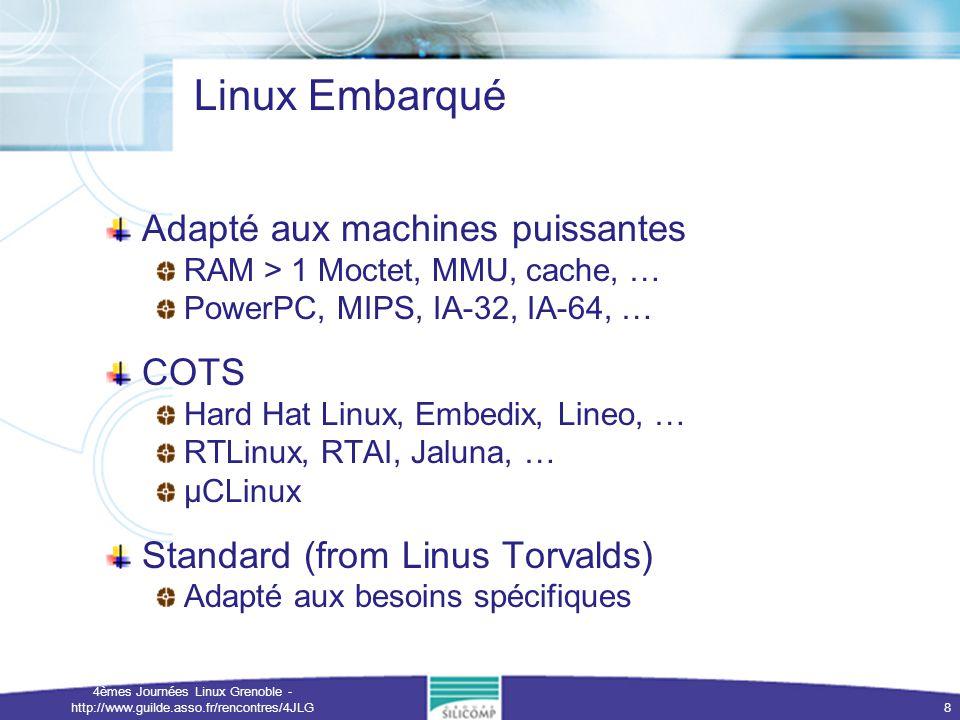 4èmes Journées Linux Grenoble - http://www.guilde.asso.fr/rencontres/4JLG 9 Une solution open source: eCos Adapté aux systèmes 32-bit légers RAM < 1Moctet, pas de MMU, ARM, M68K/Coldfire, SH, MIPS32 Mémoire Flash utilisée en XIP Caractéristiques Taille minimum (édition de lien finale) Temps réel Multithreadé, Préemptif Extensible Notion de Package Configurabilité extrême